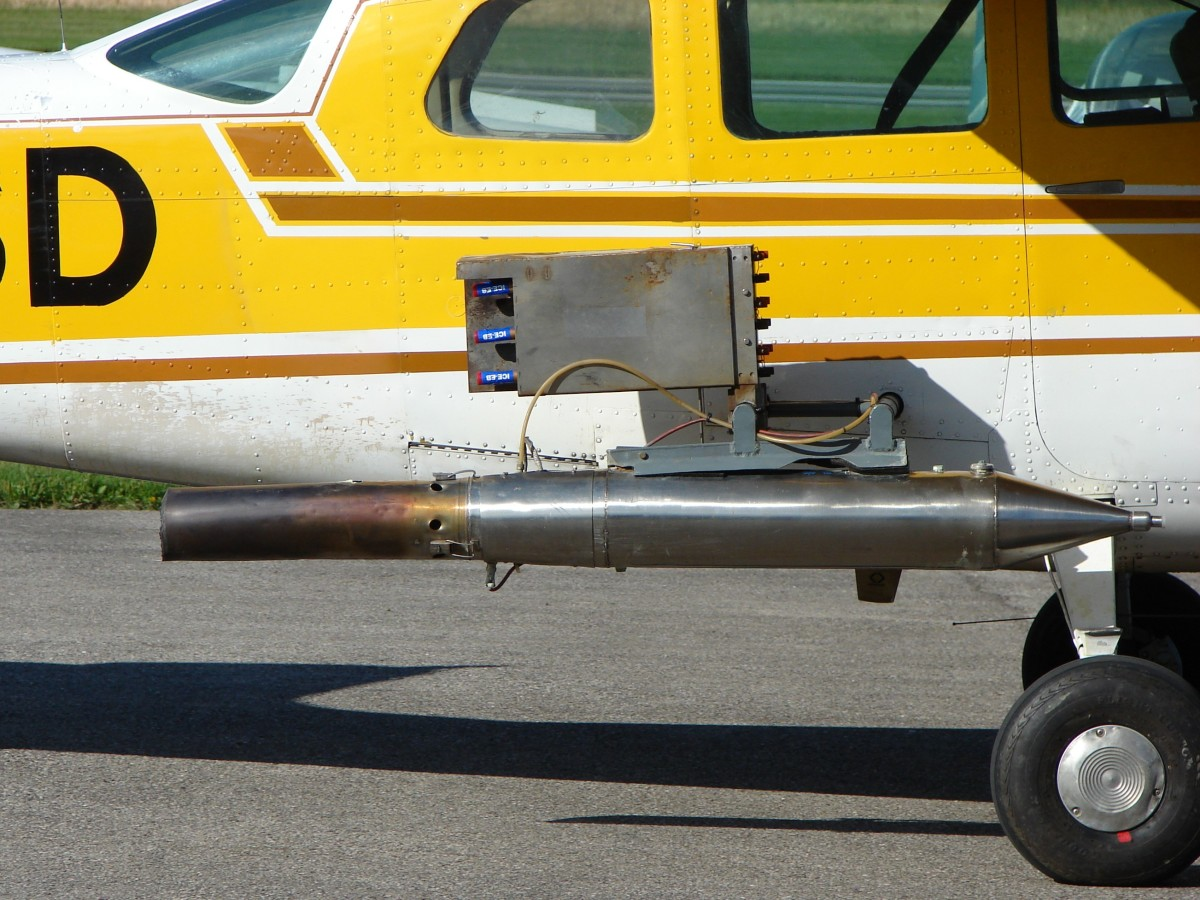 Air-Spraying Equipment - This is a wing mounted generator for spraying silver iodide.
