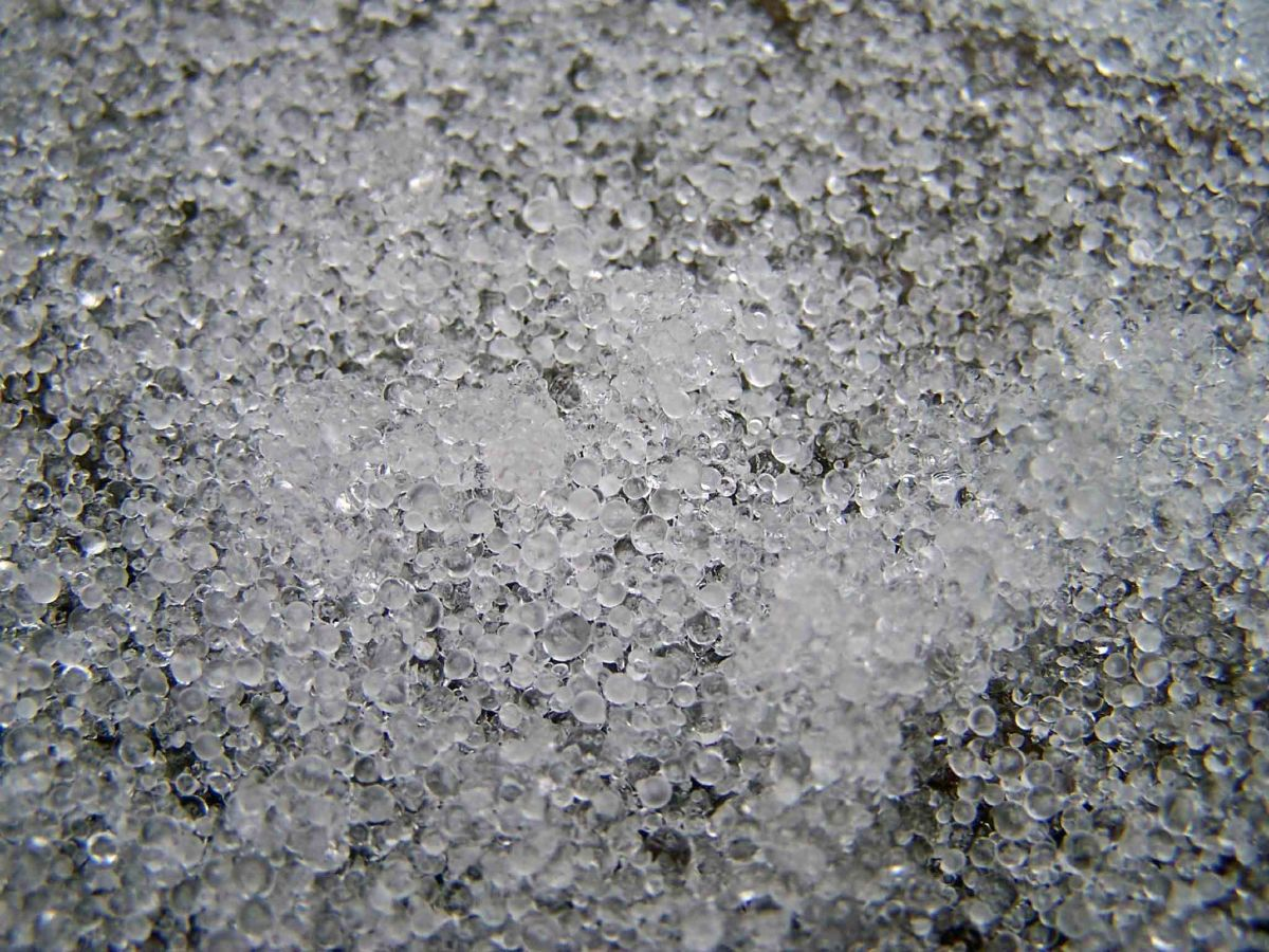 Ice Pellets - The dry ice forces an impending hailstorm to precipitate as ice pellets at warmer temperatures, instead of clumping together later and dropping as hailstones.