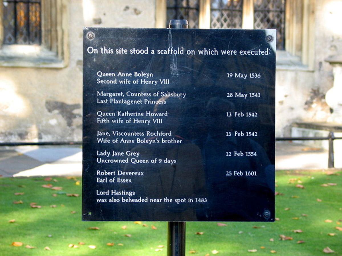 The marker showing the location at the Tower of London where Anne Boleyn and several others were executed.