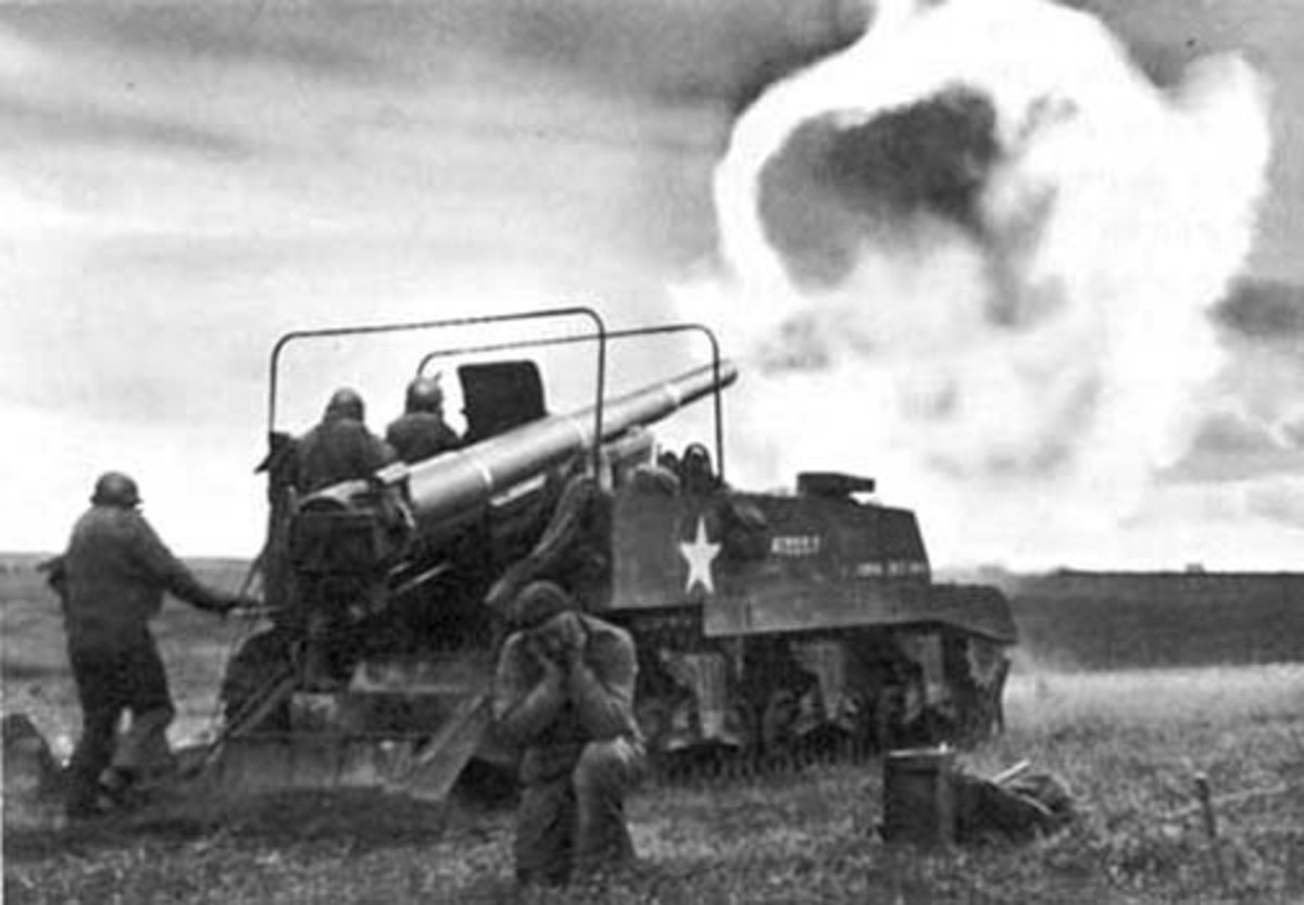 Self-propelled 155mm, 1944. The one shown here is the M12, which is using a French 155mm. The later version, M40, used the U.S. 155mm.