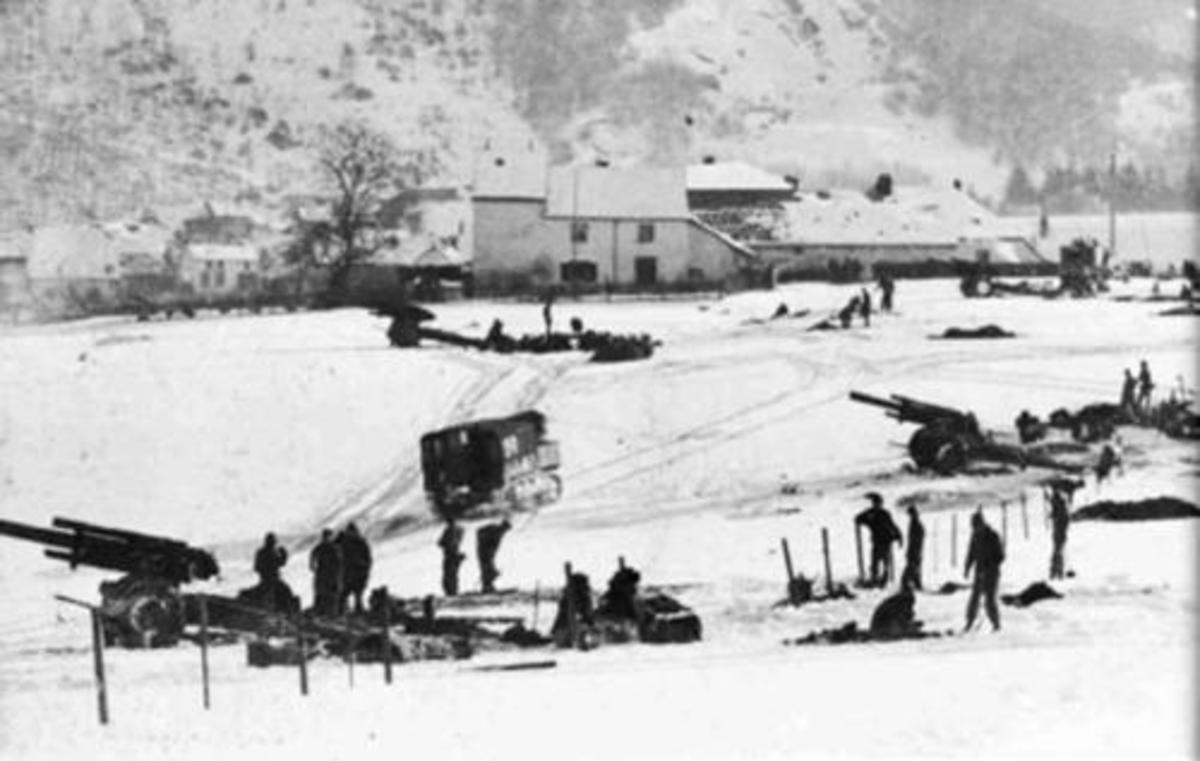 155mm battery near Wiltz, Belgium. Jan. 1945