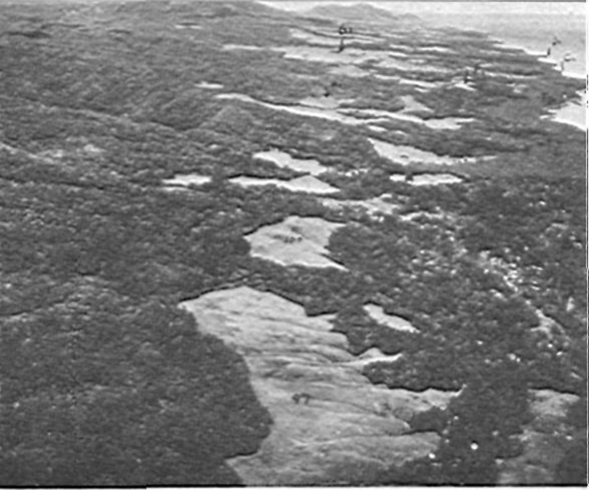 Aerial view of Guadalcanal looking north toward Cape Esperance.The few bare hills can be seen clearly from this picture.