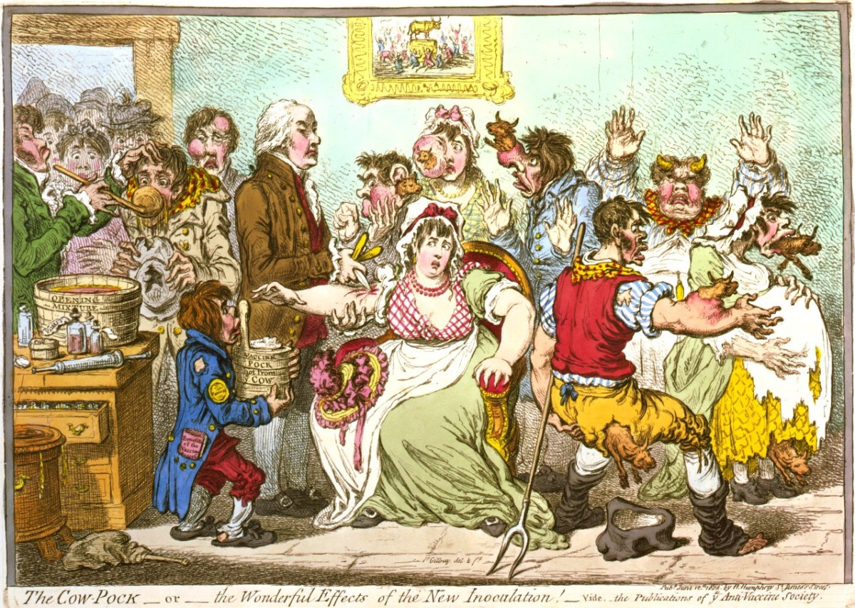 A satirical cartoon showing the cowpox vaccination and its results