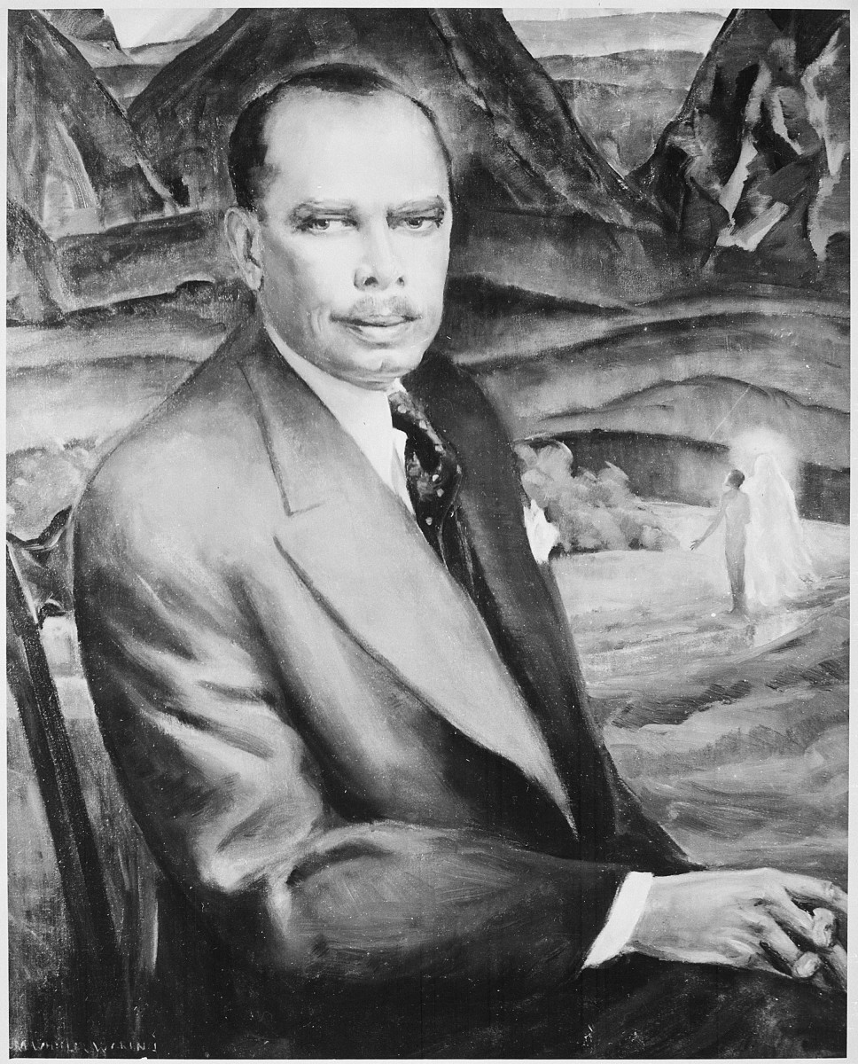 Painting of James Weldon Johnson by Laura Wheeler Waring. Current location of painting is the National Archives and Records Administration, College Park, MD.