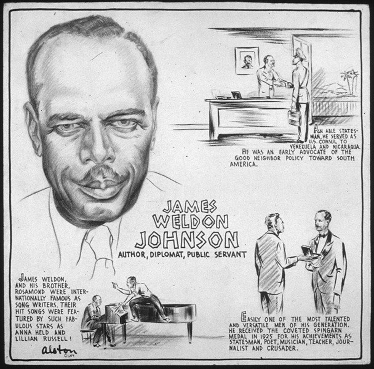 The life of James Weldon Johnson depicted with sketches and biographical paragraphs. By artist Charles Henry Alston. Current location of work is the National Archives and Records Administration, College Park, MD.