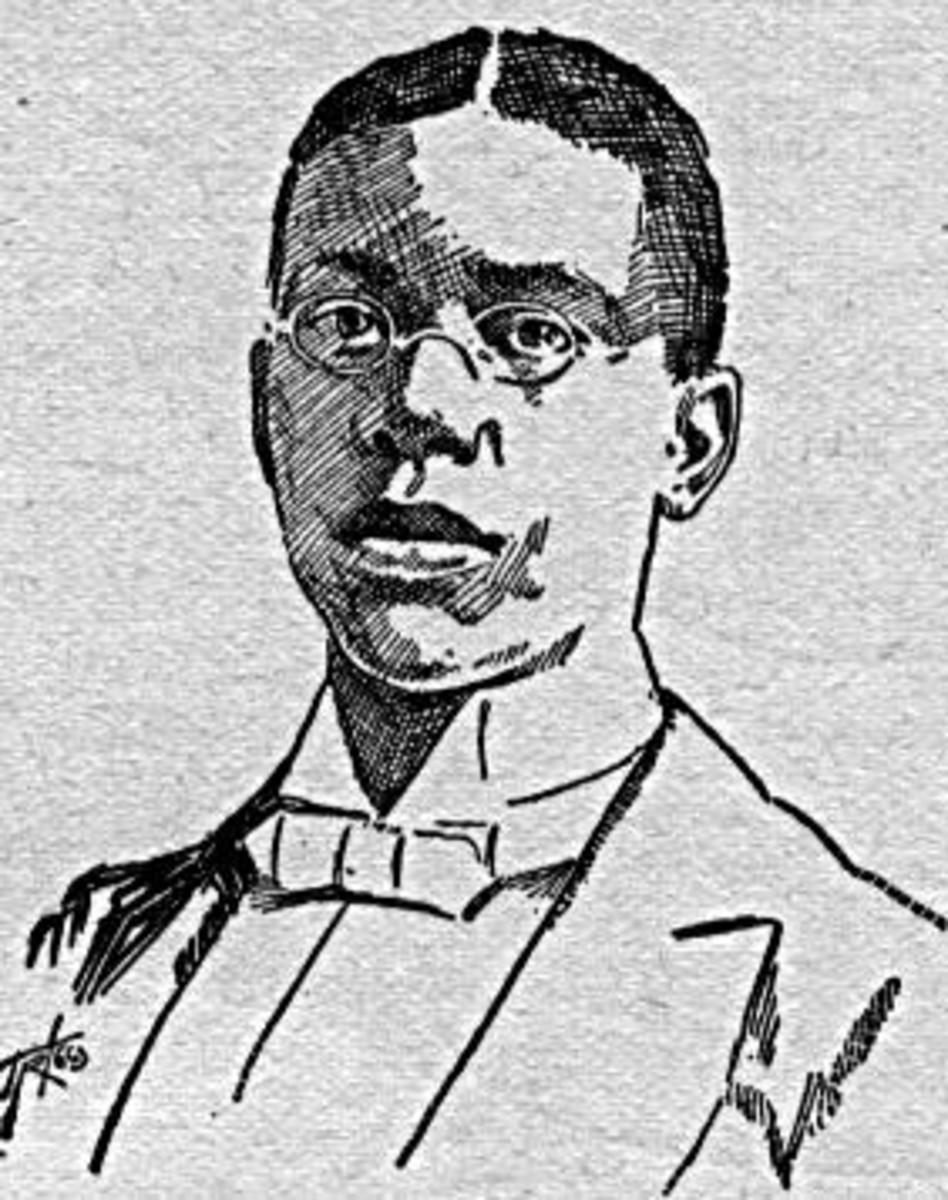 Sketch of poet Paul Laurence Dunbar. From Norman B. Wood, White Side of a Black Subject. Chicago: American Publishing, 1897.
