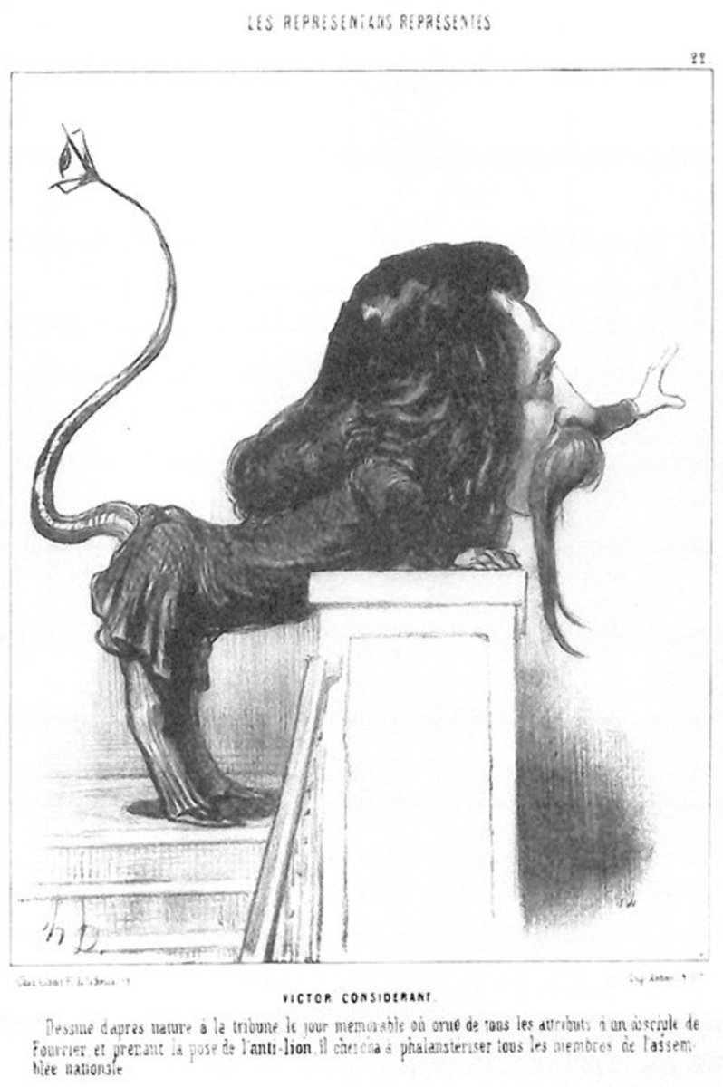 "Honore Daumier's ""Victor Considerant"": a man becomes leonine, serpentine, and alien all at once, while remaining comically exaggerated."