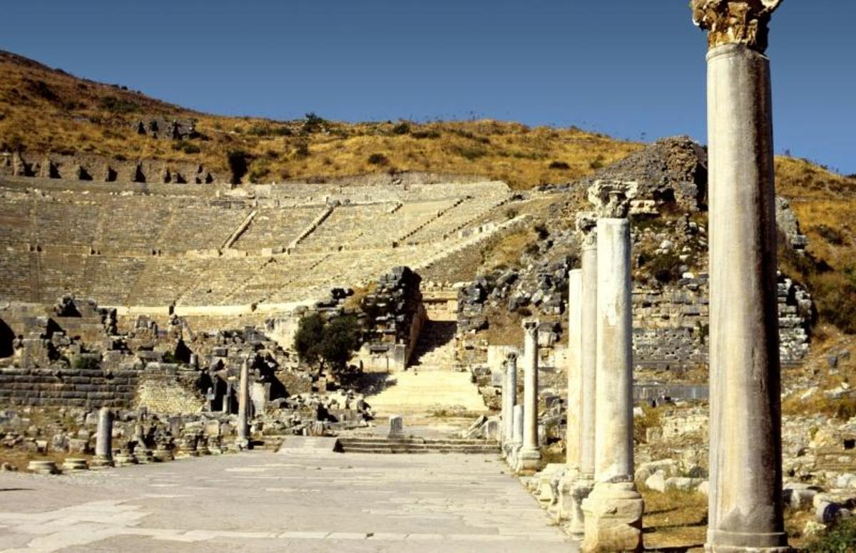 Theater at Ephesus, Turkey, scene of Paul's second and third missionary journeys.