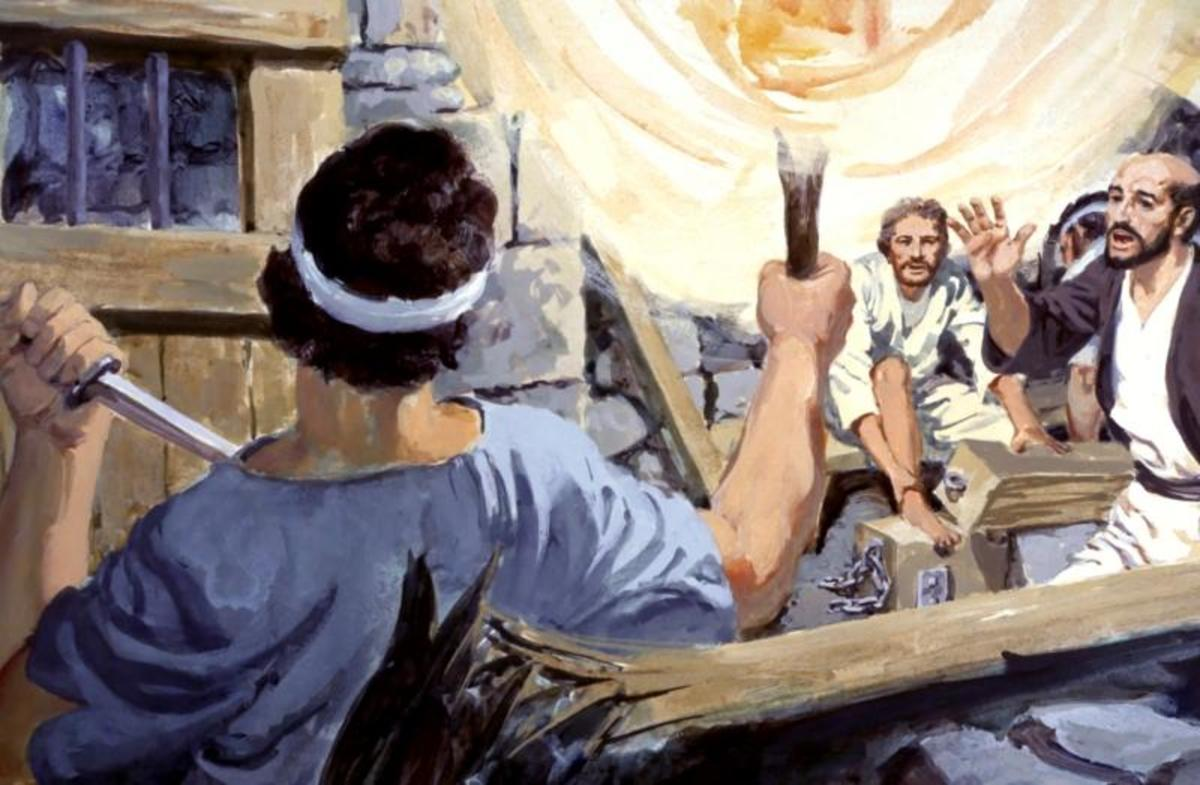 Paul and Silas save the prison guard from killing himself after the earthquake. The man invites Paul and Silas to his home where he and his family were converted and baptized (Acts 16: 25–34).