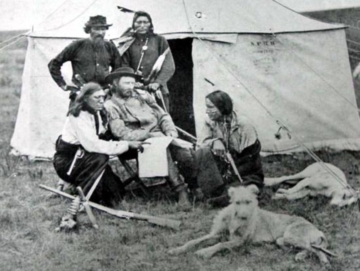 Custer with his chief scout, Bloody Knife (left). Loyal to the end, he would also perish at the LIttle Big Horn.