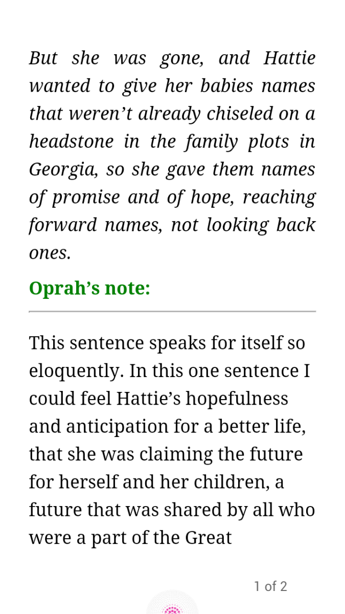 This is a screenshot of what it looks like when you follow the highlighted link to Oprah's notes. There is another link to take you right back to the page you were on.