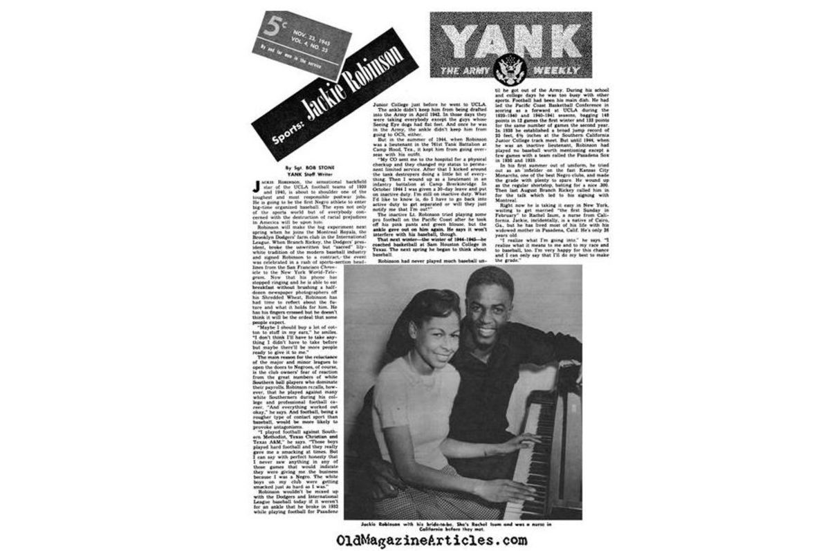 "1945 interview in the Army's ""Yank"" magazine includes Jackie's time at Camp Hood, but does not mention the court martial."