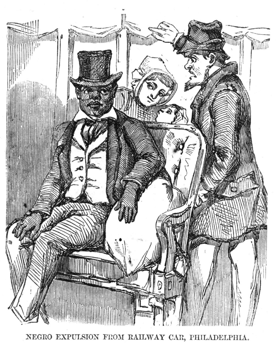 """Negro expulsion from railway car, Philadelphia.""  1856."