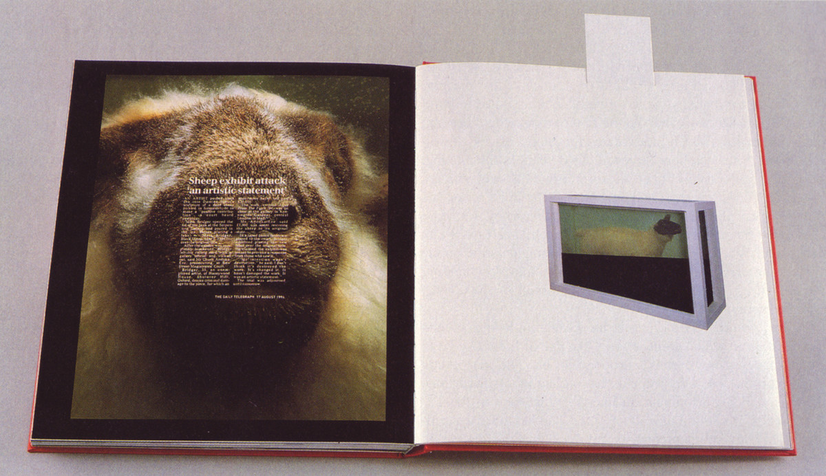 """page from Damien Hirst's, I Want to Spend the Rest of My Life Everywhere, With Everyone, One to One, Always, Forever, Now"""" (New York, Penguin Group, USA, 2000)."""