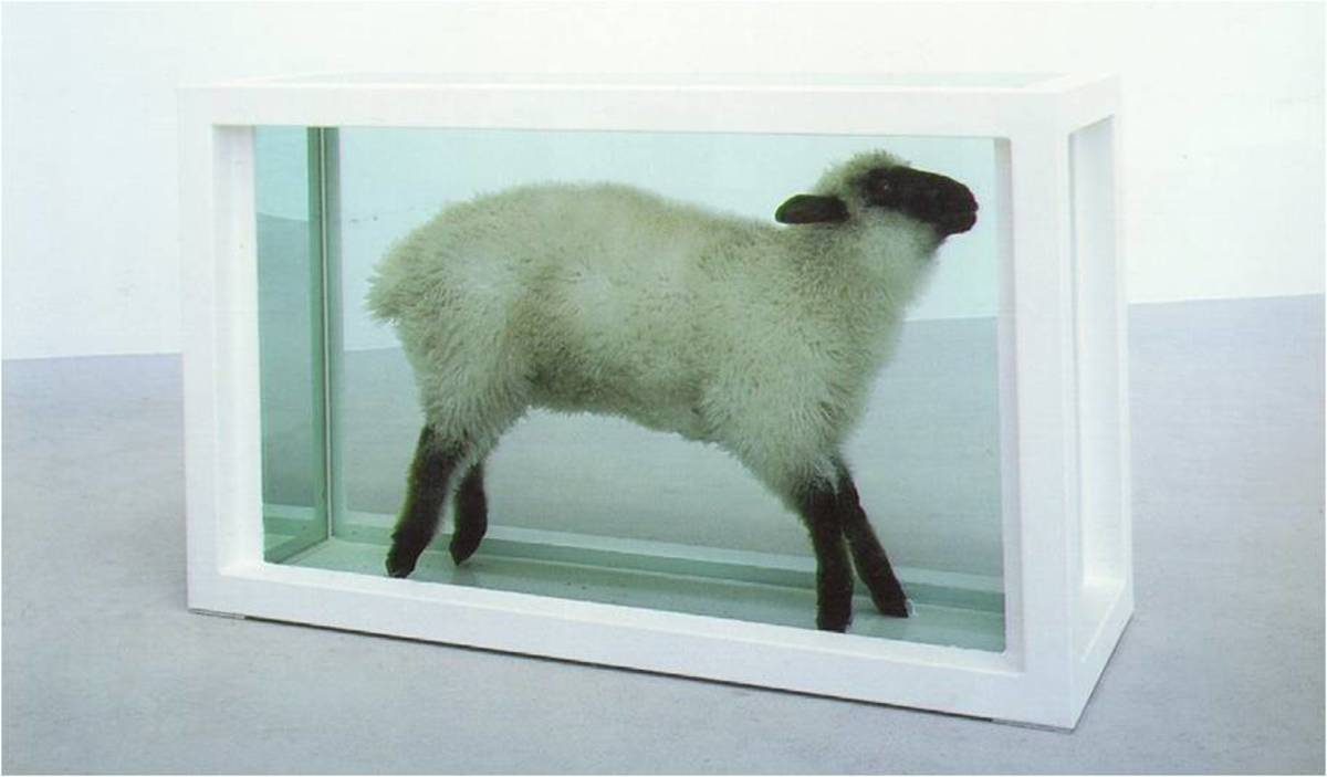 Damien Hirst, Away From the Flock (1994), 38x59x20in, steel, glass, lamb, formaldehyde solution. Saatchi Collection.