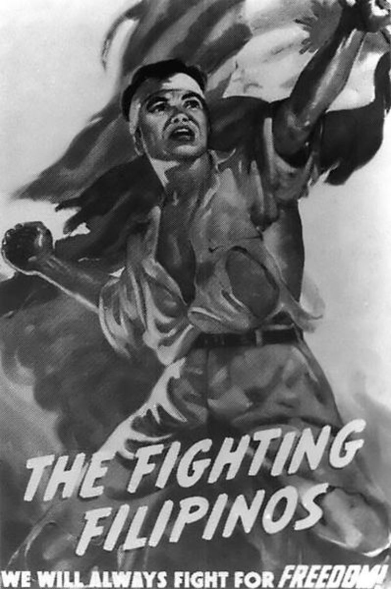 WWII propaganda poster depciting the Philippine Guerillas.