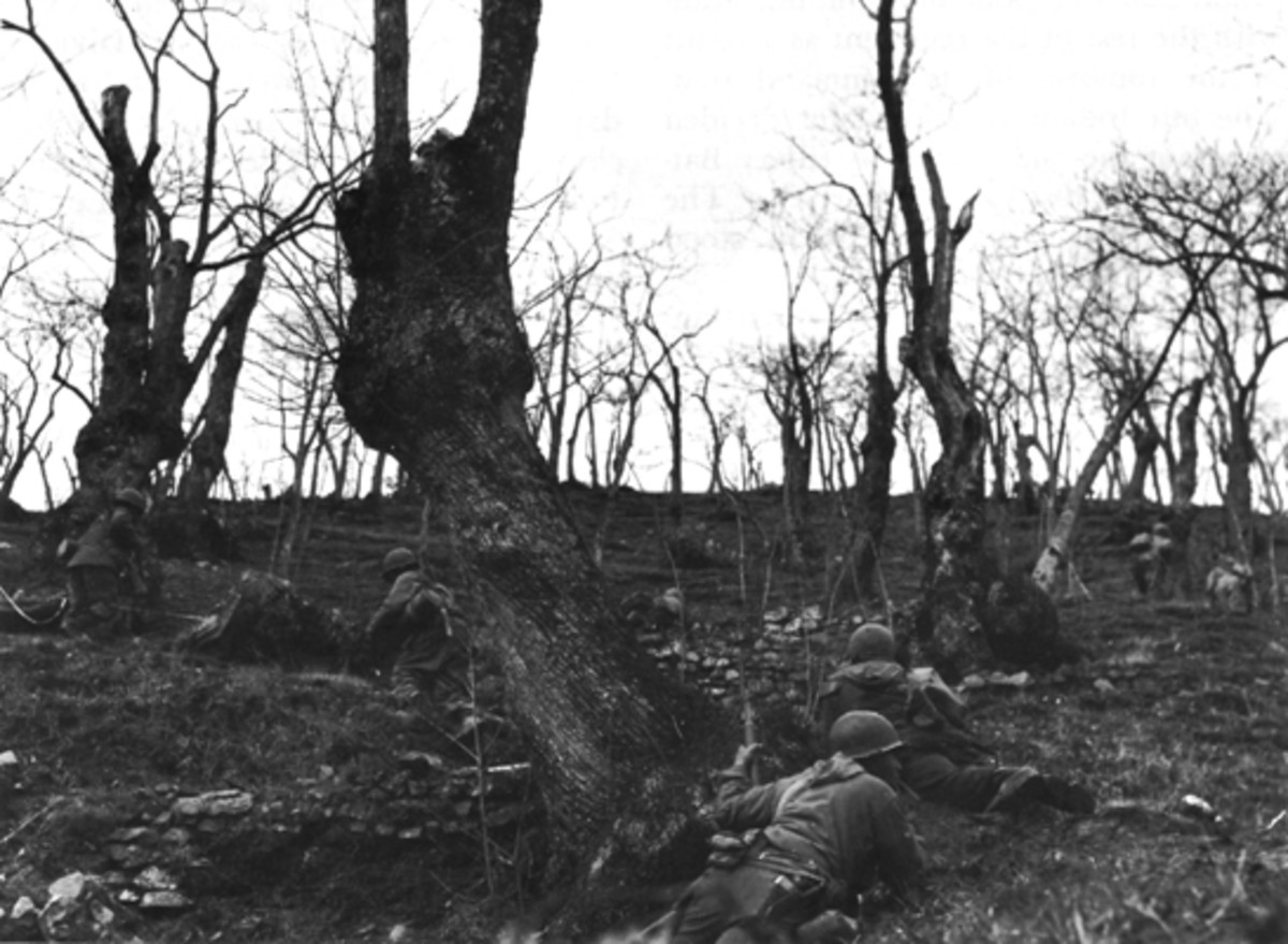 Troops of the 92nd in a firefight, Italy, January 1945.