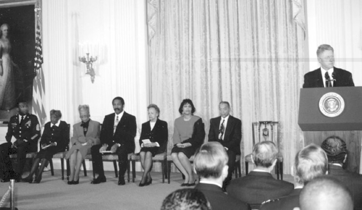 Lt. Fox's widow, Arlene Fox (third from left), at the White House in 1997 where her late husband was finally awarded his Medal of Honor along with several others from the 92nd ID.