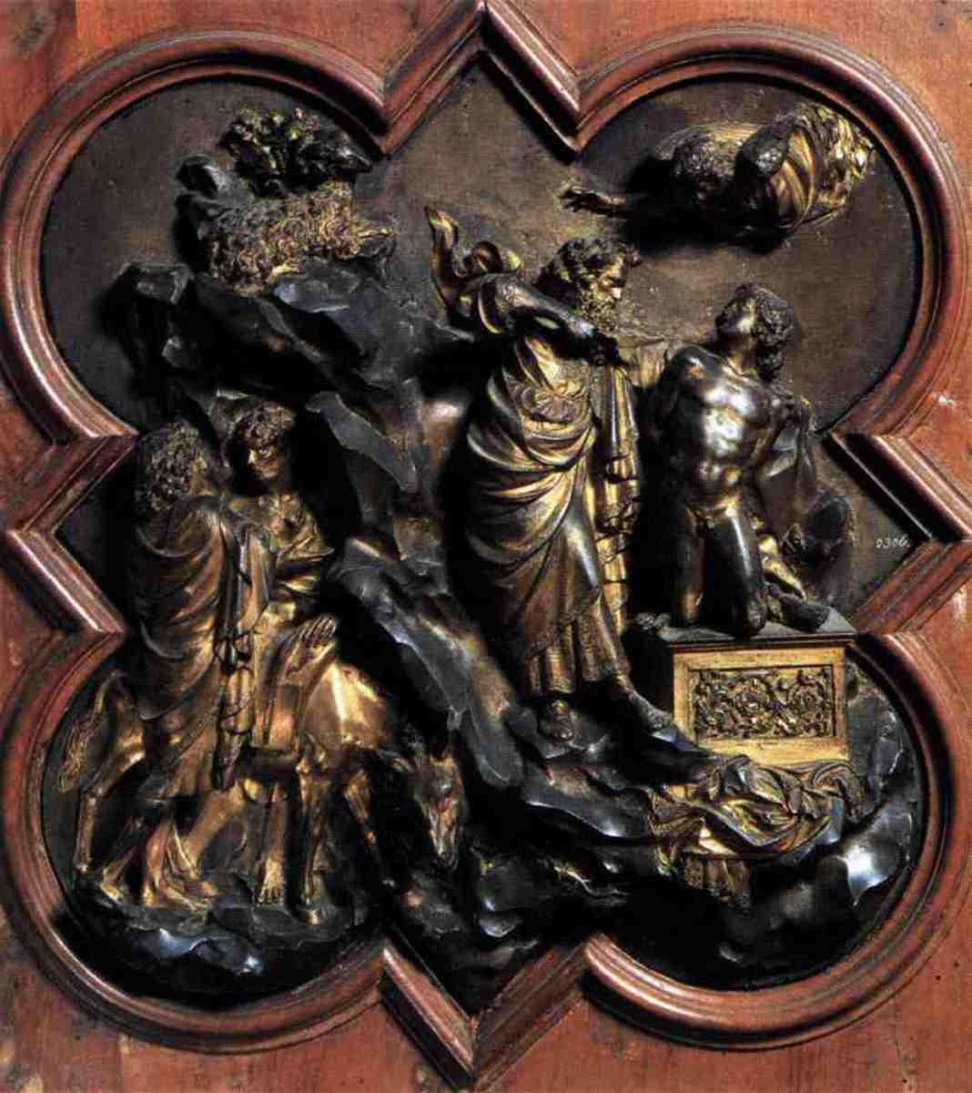 A panel from the Florence Baptistry doors completed by Lorenzo Ghiberti.