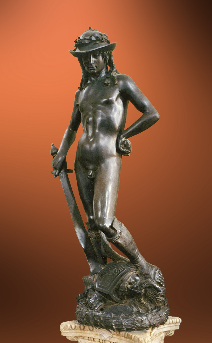 Donatello's bronze David, commissioned for a garden courtyard of the Medici Palace.