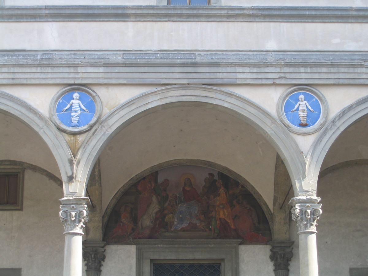 Details from the Ospedale degli Innocenti (the Foundling Hospital) designed by Brunelleschi.