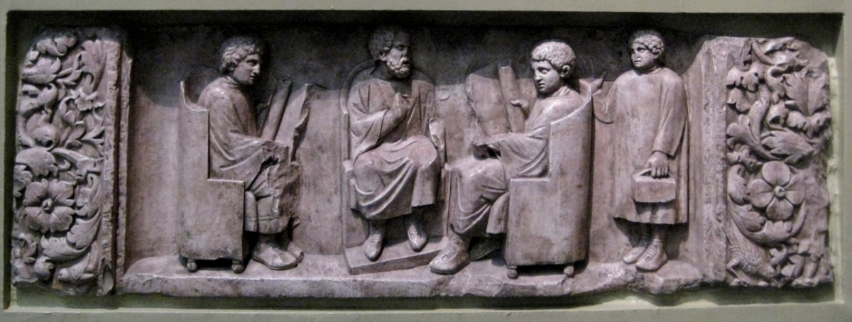 In this carved relief, a Roman tutor educates his pupils, possibly on the discipline of history. The Pushkin Museum of Fine Arts, Moscow.