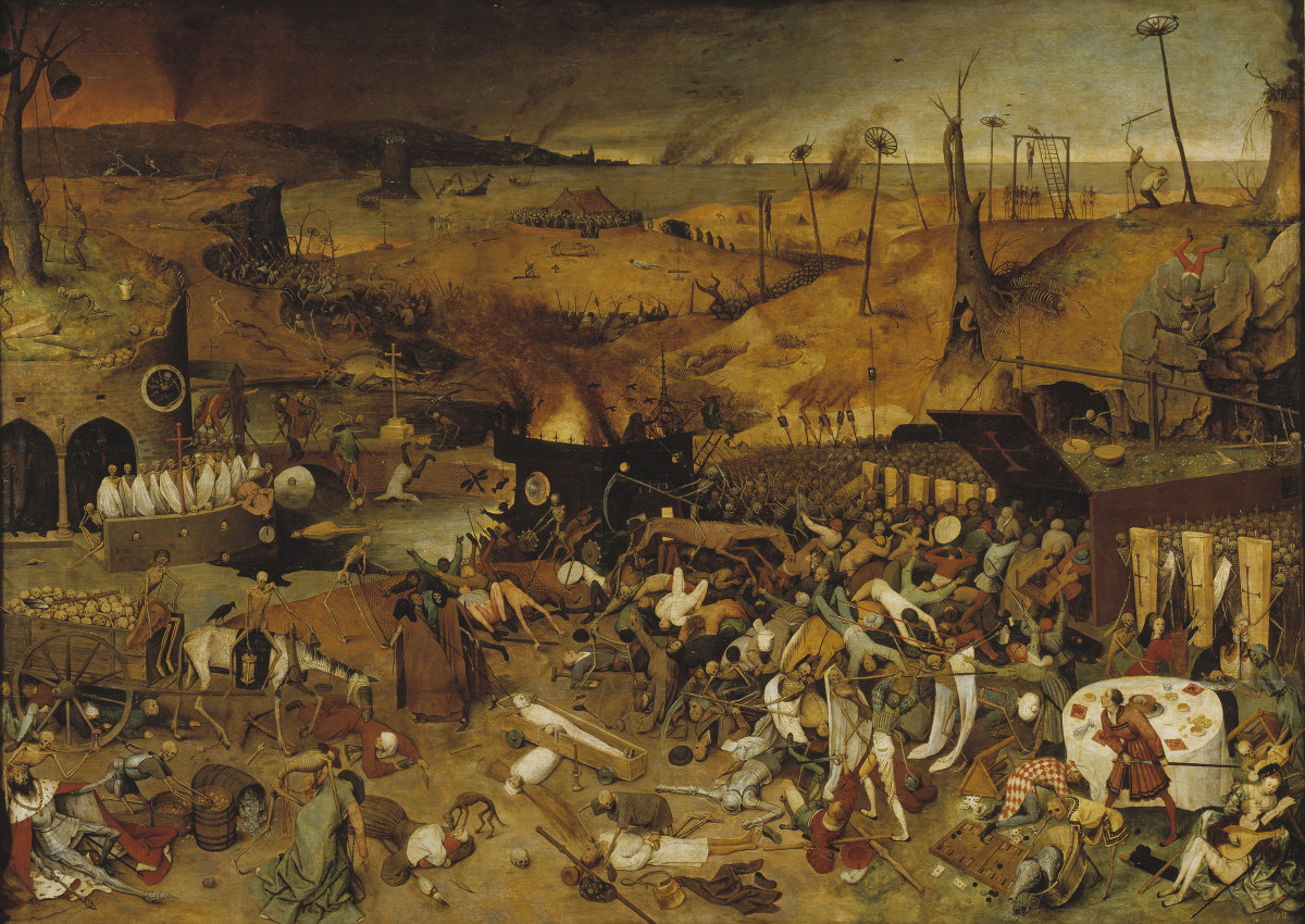 The Triumph of Death, Pieter Brughel (1562)  - Brughel's painting depicts the devastation caused by the Black Death in Europe.