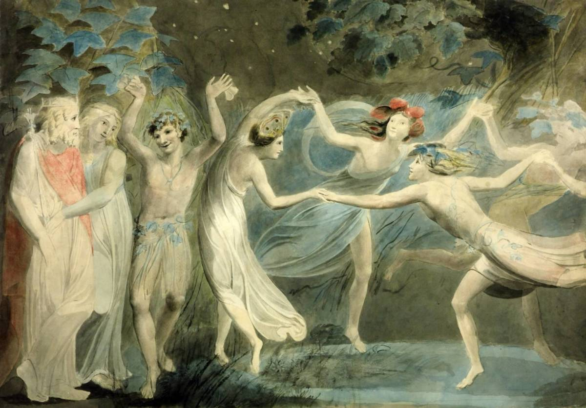 Oberon, Titania and Puck with Fairies Dancing by William Blake, c.1786