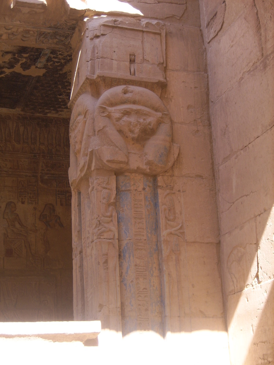 Hathor Column in the Ptolemaic temple of Deir el-Medina still showing blue pigment