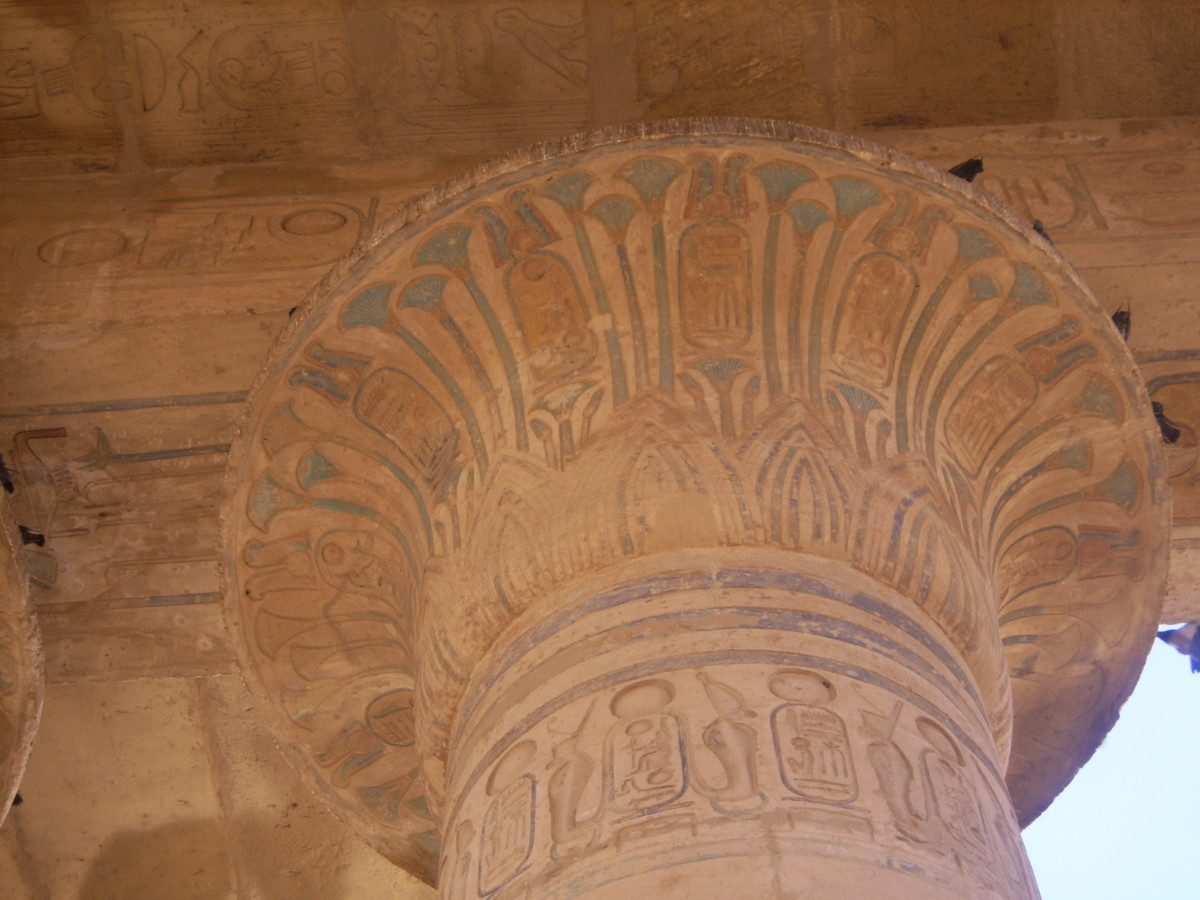 Painted column at the Ramesseum, Egypt