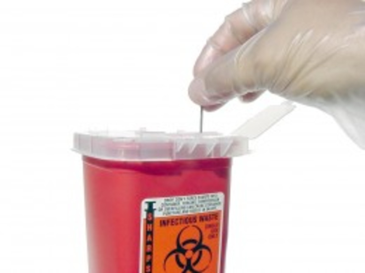 Always dispose hypodermic needles in a sharps container.