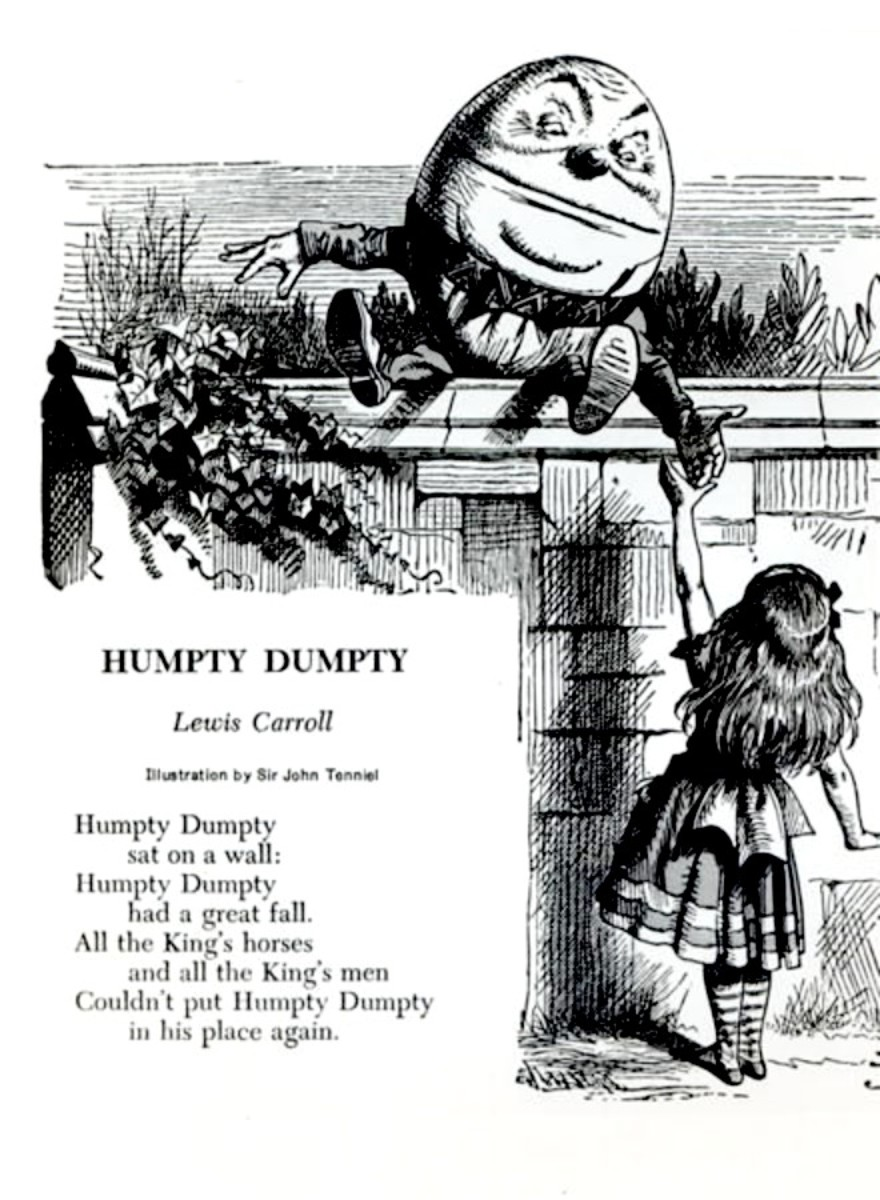 John Tenniel's Humpty Dumpty for 'Through the Looking Glass' by Lewis Carroll