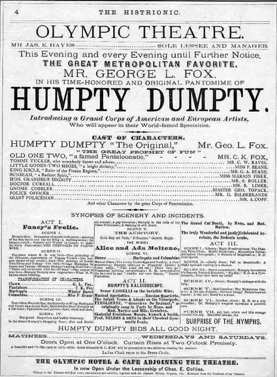 Playbill for the Humpty Dumpty pantomime popularised by George L Fox