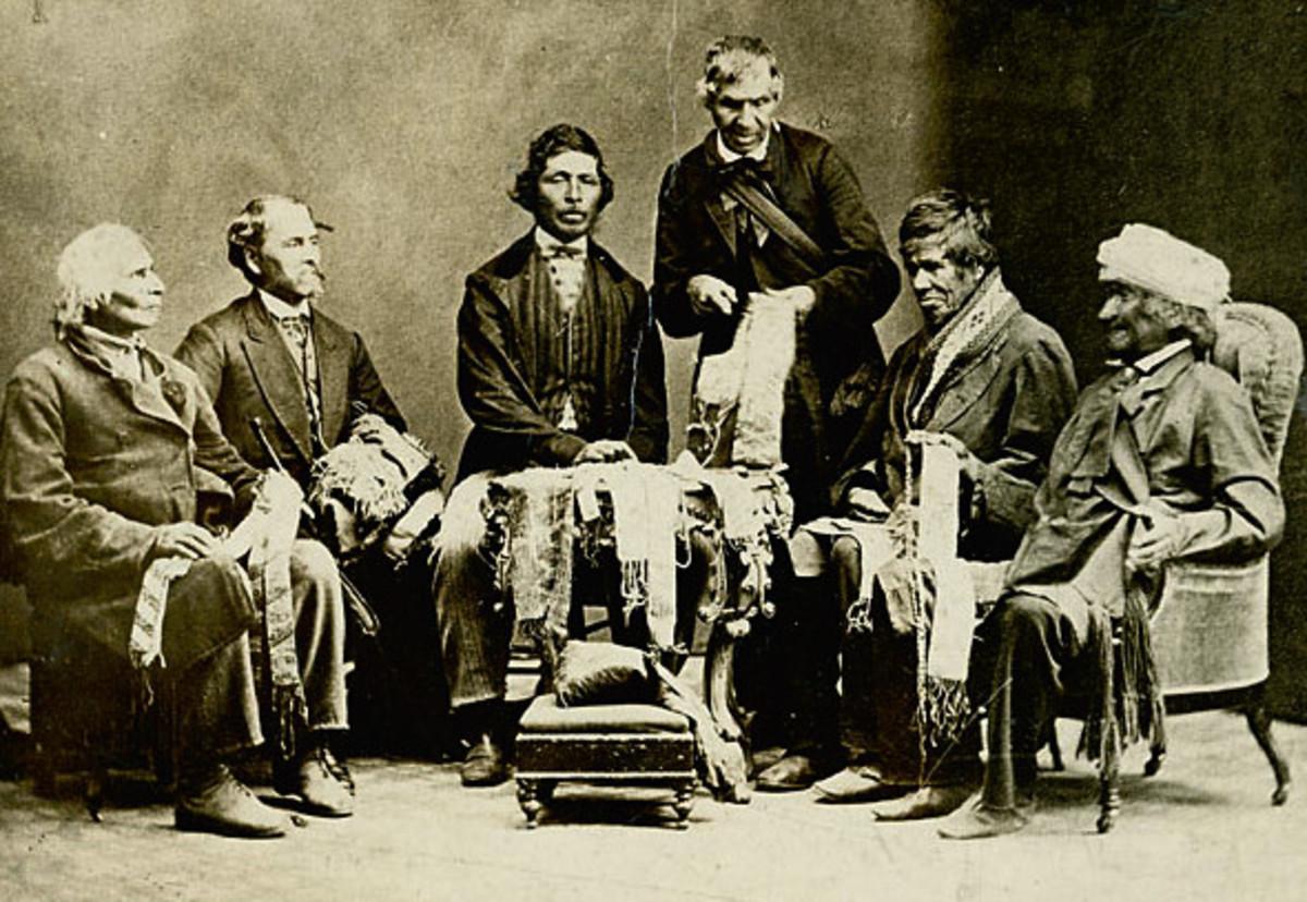 Wampum belts, 1871. Joseph Snow (Hahriron), Onondaga; George Johnson (Deyonhehgon), Mohawk; John Buck (Skanawatih), Onondaga, John Smoke Johnson (Sakayenkwaraton), Mohawk; Isaac Hill (Kawenenseronton), Onondaga; John Johnson (Kanonkeredawih), Seneca.