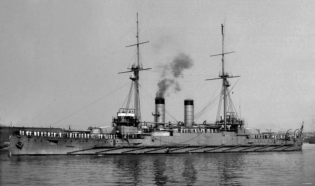 "WW1: Japanese Pre-Dreadnought Battleship Kashima, 16,000 tons, 4 X 12"" guns, 4 X 10"" guns."