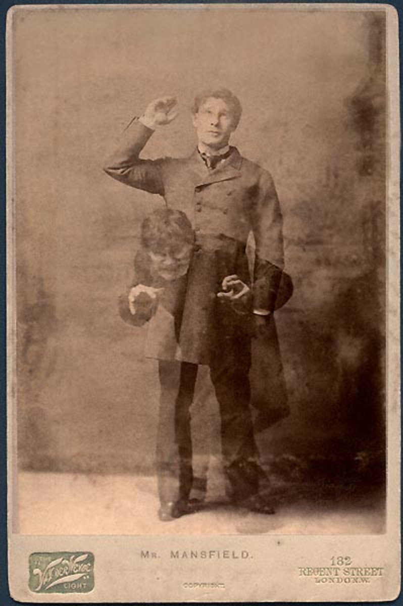 "Dual Exposure Picture of Richard Mansfield Star of the London Play ""The Strange Case of Dr. Jekyll and Mr. Hyde"" in 1887"