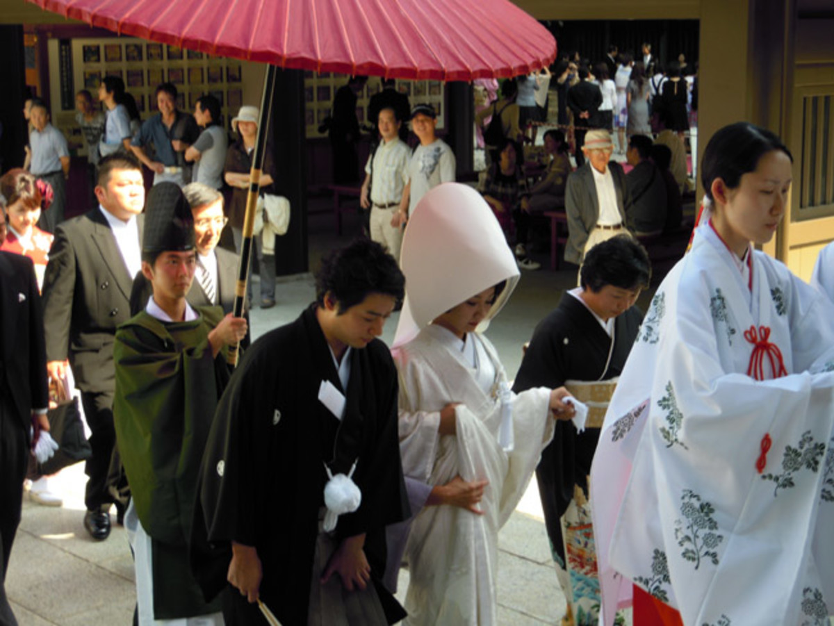 Traditional Japanese wedding procession