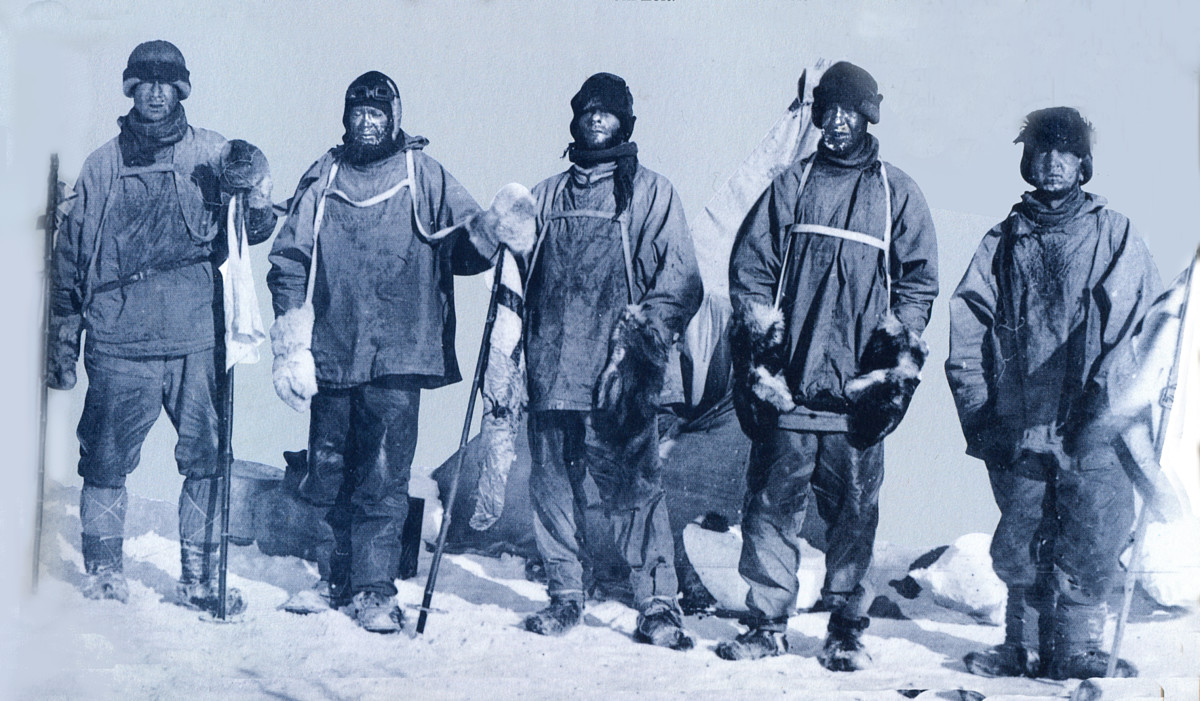 Scott and his team on the South Pole. Their faces reflect the grief of discovering they have lost.