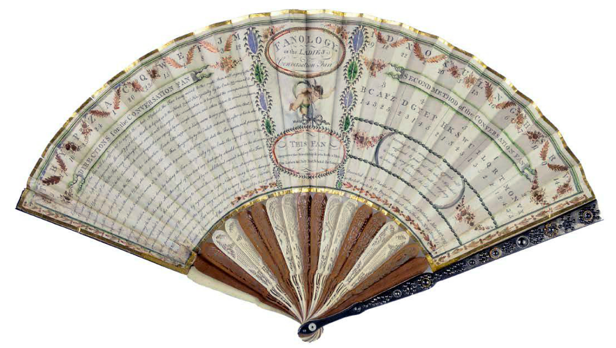 """Fanology or the Ladies Conversation Fan"" designed by Charles Francis Badini, printed in 1797"