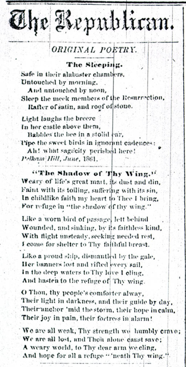 Edited versions of two of Dickinson's poems published in 1862