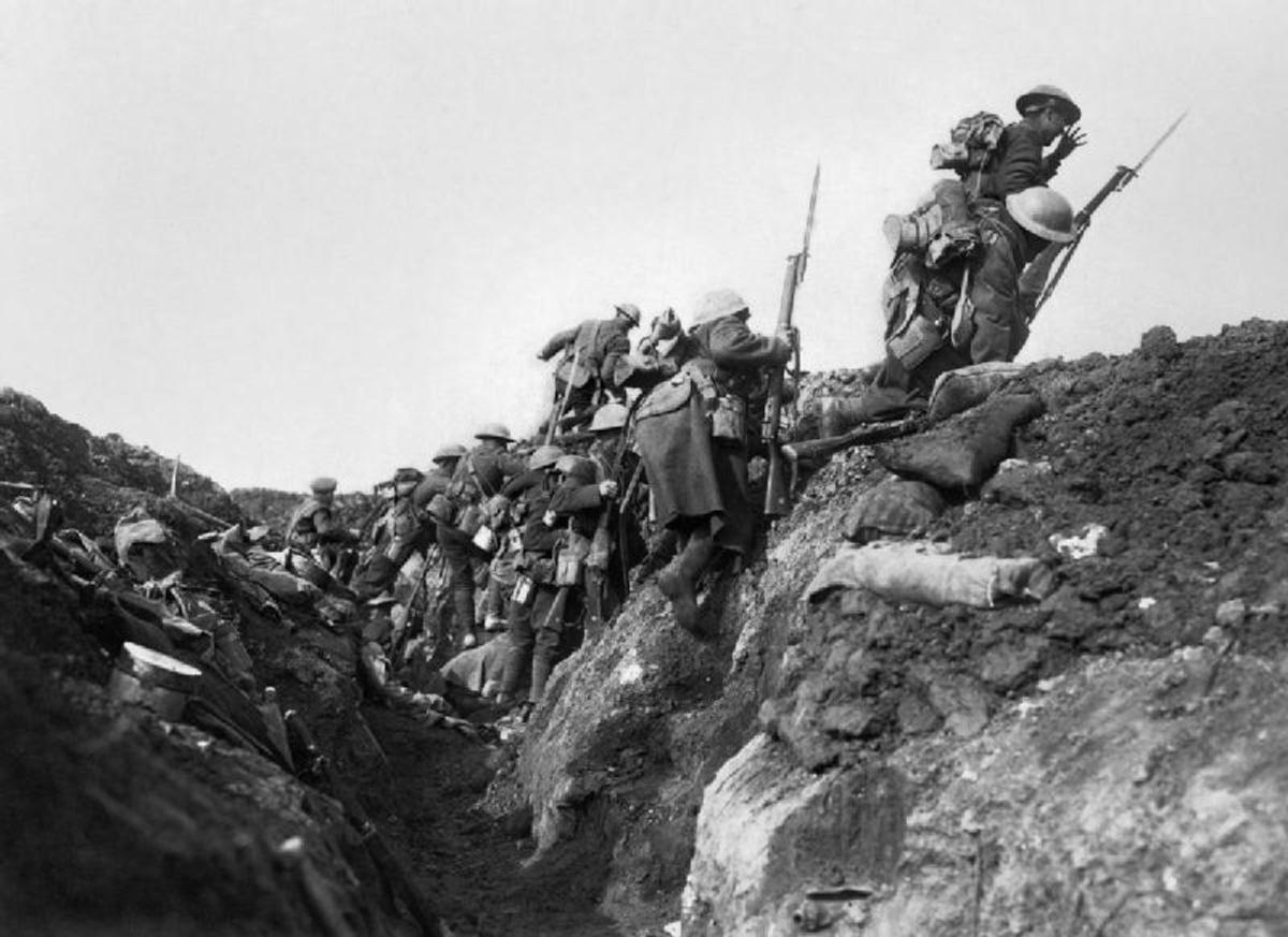 "Troops  ""going over the top"" at the start of the Battle of the Somme in 1916"