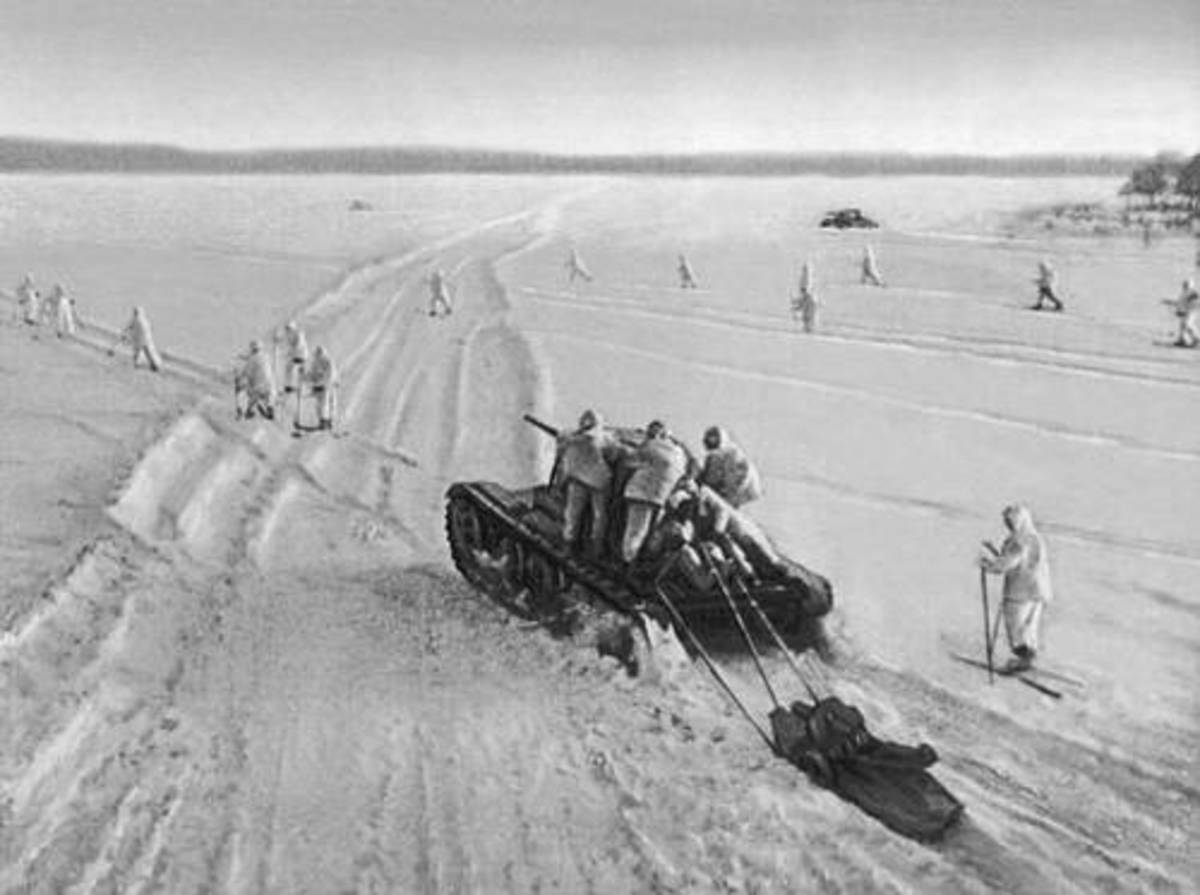 Soviet troops supported by tanks in the midst of their counterattack against the Germans in December 1941.