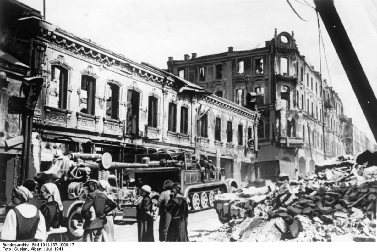 The ruins of Minsk, capital of Belarus which was destroyed by the Germans in July 1941.