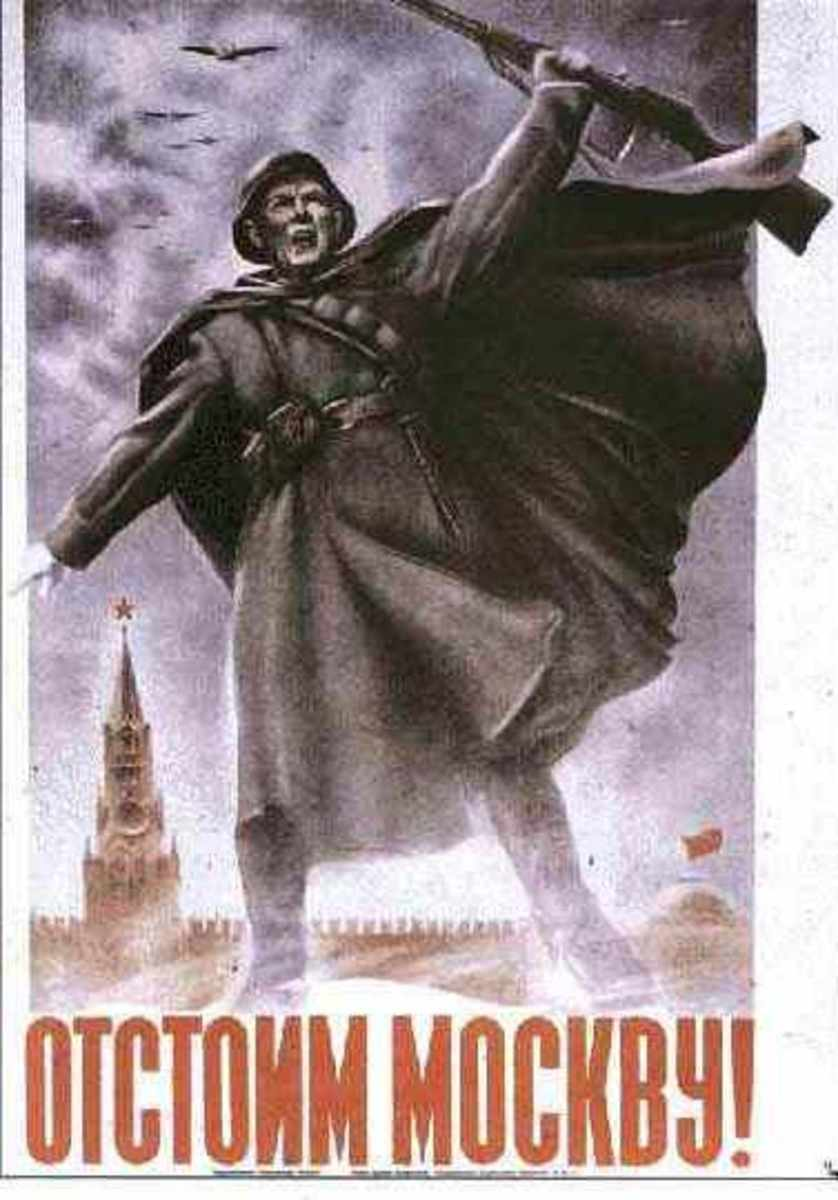 A Soviet poster proclaiming in Russian: 'Let's Defend Moscow!'