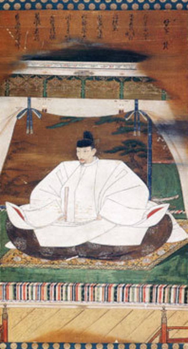 A portrait of Toyotomi Hideyoshi, wearing the agekubi robes of the highest Imperial ceremony. Hideyoshi's official title was 'Regent of the Realm' (roughly equivalent to Prime Minister).