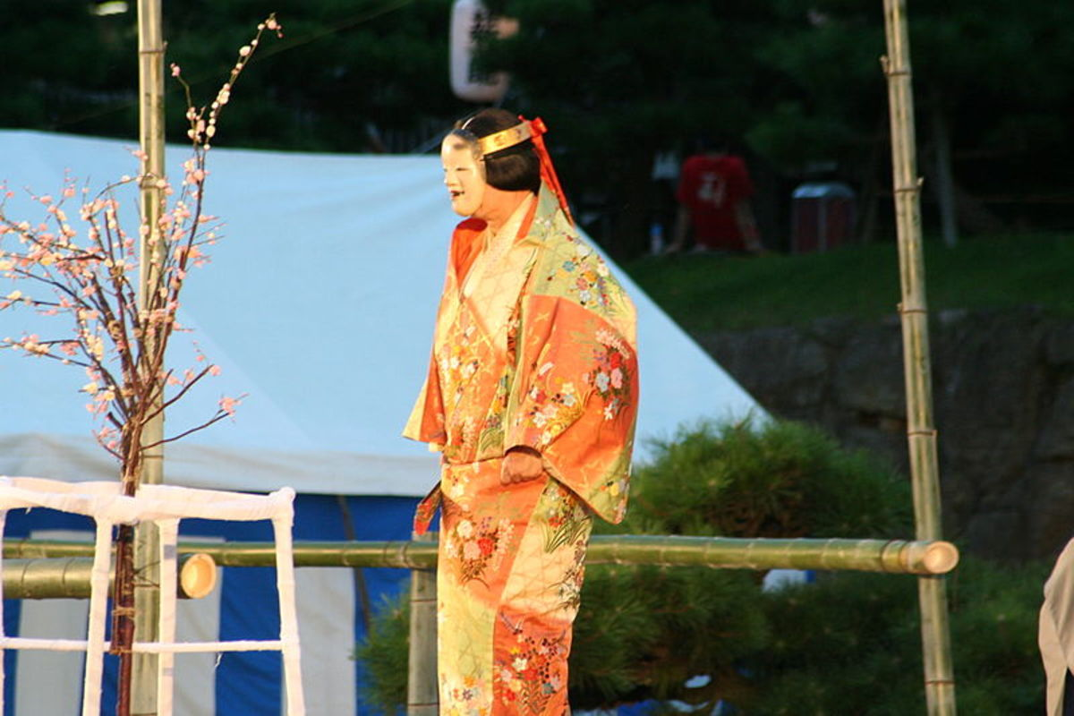 A Noh actor, playing the role of a young woman wearing uchikake. Noh costumes are all made on the pattern of Muromachi-era clothing.
