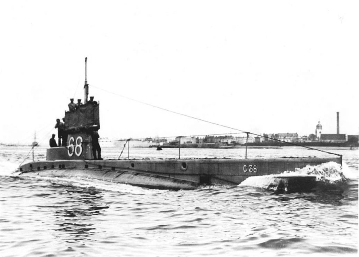 WWI: A small British C-class submarine.