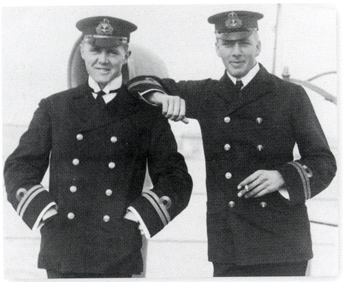 World War One: Max Horton (left), commander of HMS E-9, and Noel Laurence, commander of HMS E1, during service with British Submarine Flotilla in the Baltic. They would later become admirals and serve during World War 2.