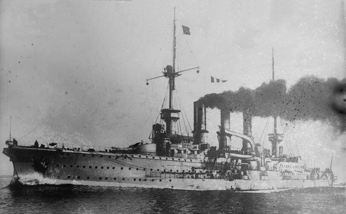 WWI: German 10,000-ton armored cruiser SMS Prinz Adalbert. Damaged by E-9. Later sunk by E-8, losing 672 of her 675 crew.