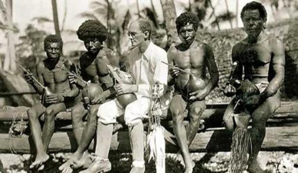 Bronislaw Malinowski with natives on Trobriand Islands (1918)